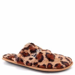 Bebe leopard print faux fur slippers